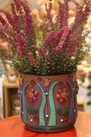 Květináč s kytičkami, 16 cm, ø 17 cm
