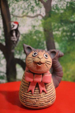 Kočka miniaturní s růžovou mašlí, 11 cm