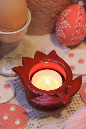 Svícínek – červený tulipán, v 4 cm, d 9 cm