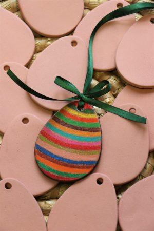 Keramická vymalovánka – vejce ploché (bez dekoru), béžové, v 7,5 cm