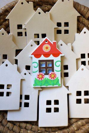 Keramická vymalovánka – domeček (bez dekoru), bílý, v 12 cm
