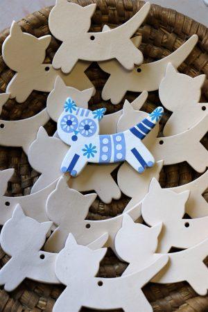 Keramická vymalovánka – kočka (bez dekoru), bílá, d 11 cm