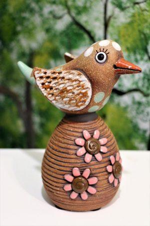 Ptáček s kytičkami, v 19 cm
