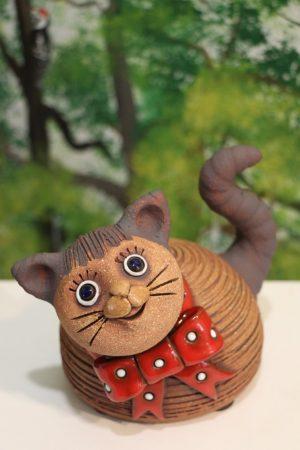 Kočka malá s mašlí, v 14 cm