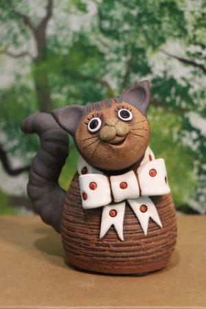 Kočka menší s mašlí, v 15 cm