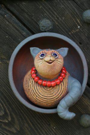 kočka v nástěnném talíři (⌀ 18 cm, v 10 cm)